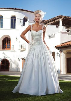 Dropped Satin Ball Gown Straps Floor Length Sleeveless Wedding Dress With Beading