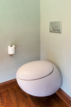 This egg-shaped toilet is super sheik! It also provides a low-flush option which we love! Remodel by Canyon Construction.  Photo by Treve Johnson.