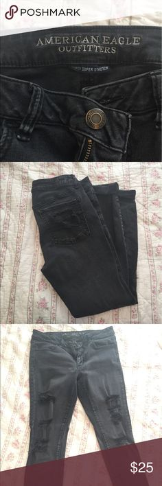 Black American Eagle Skinny Jeans Super super stretch size 12 distressed skinny jeans American Eagle Outfitters Jeans Skinny