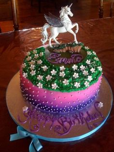 unicorn cake By cakeheart on CakeCentral.com.... for Katie's birthday maybe??