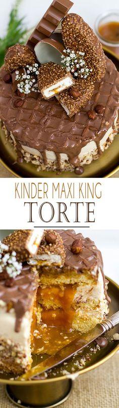 Kinder Maxi King Torte / Cake with hazelnut caramell sauce, waffle topper and lots of kinder chocolate   Kinder Maxi King Torte mit Haselnuss Karamell Sauce, Waffel und viel Kinder Schokolade