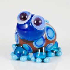 Blue Brown Turtle Lampwork Glass Bead by maybeads on Etsy, $15.00