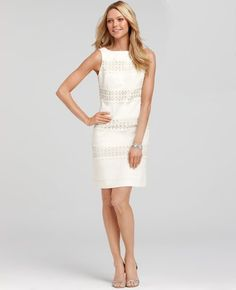 Cotton Sateen Lace Stripe Dress - this might be too conservative; better for an office than a beach