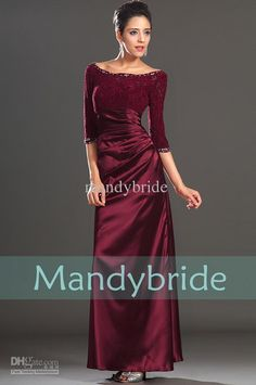 Burgundy Long sleeves Lace Floor length Evening Gown