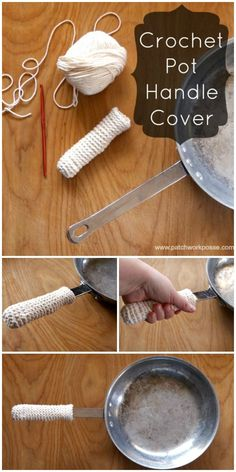 Crochet Pot Handle Cover Tutorial #crochet #freepattern Great project for beginners to learn the single crochet on.