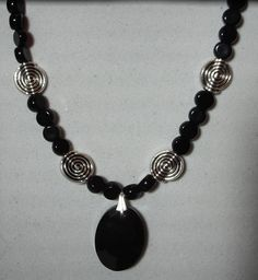 """Black and silver necklace - Jet black glass pendant - 17"""" beaded necklace - Glass and pewter beads by MoonbeadJewelryUS on Etsy"""