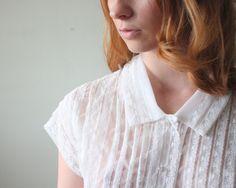 1950's blouse - midcentury lace blouse. $38.00,