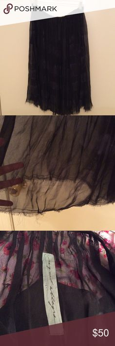 """NWOT Raquel Allegra Shirred Silk Skirt Raw hem. Two side pockets. Two buttons for closure (wrap-like closure but not a wrap skirt). So beautifully sheer. Black/gray with blue tint tie-dyed pattern. Approx. 30"""" waist. Slip/shorts required. Size 2 , equivalent to M. Raquel Allegra Skirts Midi"""