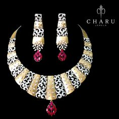 Combination of traditional gold jewelery with Ruby and Diamond by charu jewels Ruby Jewelry, Bridal Jewelry, Diamond Jewelry, Jewelery, Fine Jewelry, Gold Jewelry, Vintage Jewelry, Jewelry Design Drawing, Diamond Necklace Set