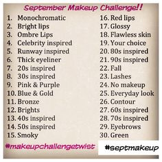 instagram challenge | daily makeup challenges for the entire month of september