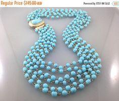 Extravagant Vintage Six Strand Glass Necklace. Turquoise Glass Necklace. Old Style 6 Strand Necklace,Turquoise Glass Beads.Wedding Necklace.