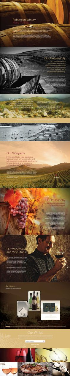 Web Design, UX, UI, Winery Website, Wine, Wine filter, Timeline, Robertson Winery