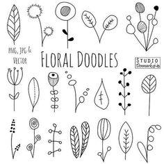 Doodle flores imágenes prediseñadas y vectores - dibujados a mano flores y hojas Doodles / Sketch - naturaleza / follaje / botánica dibujos - uso comercial: