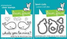 Amazon.com: Lawn Fawn Whale You Be Mine Clear Stamp and Steel Die Set - Includes One Each of LF791 (Stamp) & LF792 (Die) - Bundle of 2: Arts, Crafts & Sewing