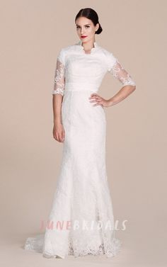 Half-sleeved Sheath Lace Dress With Illussion Detail