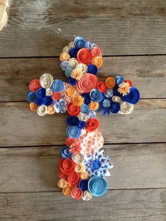RESERVED for HEATHER Paper flower cross: coral, peach, tangerine, light blue, royal blue wall hanging Christian decor on Etsy, $28.00