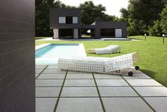 Wholesale x Blue Quarry Porcelain perfect for decks, driveways, patios, and walkways! Outdoor Tiles, Outdoor Decor, Travertine Tile, Garden Spaces, Sun Lounger, Interior And Exterior, Outdoor Furniture Sets, New Homes, Driveways
