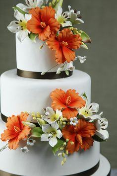Orange Hibiscus Wedding Cake – Wedding Cakes With Cupcakes Elegant Wedding Cakes, Elegant Cakes, Beautiful Wedding Cakes, Wedding Cake Designs, Beautiful Cakes, Fondant Wedding Cakes, Wedding Cakes With Cupcakes, Fondant Cakes, Hibiscus Cake