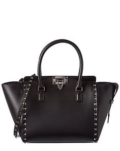 Valentino Rockstud Noir Small Leather Double Handle Tote