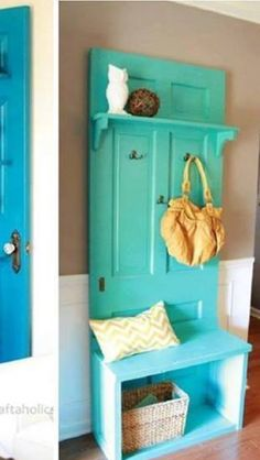 love this turquoise hall tree for the entry way. Great pop of color