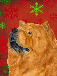 Chow Chow Red and Green Snowflakes Holiday Christmas Flag Canvas House Size