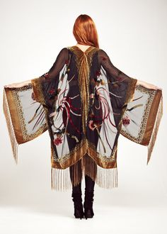 Black Velvet Fringe Kimono - Black Gypsy Feather Classic $172