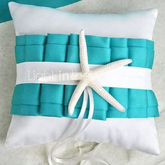 Beach Themed Blue Wedding Ring Pillow with Starfish