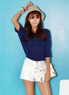 Sleeve roll up design t+ white shorts#korean fashion #casual style#cute