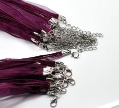 Dark Purple Organza Ribbon Waxen Cord String Necklace for 5 Organza Ribbon, Buying Wholesale, Dark Purple, Cord, Wax, Jewellery, Beauty, Cable, Jewels