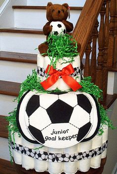 Super Baby Shower Cake For Boys Sports Soccer Ball 18 Ideas Soccer Baby Showers, Baby Shower Cakes For Boys, Best Baby Shower Gifts, Baby Shower Themes, Baby Boy Shower, Baby Shower Drinks, Baby Shower Parties, Soccer Ball Cake, Diy Hot Air Balloons