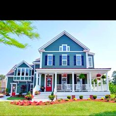 Craftsman style exterior, bright colors