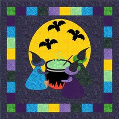 Three Witches Brew Quilt Pattern QA-114 by Quilting Affection - Tina & Diana Dillard. Halloween applique wall hanging pattern. Advanced beginner.