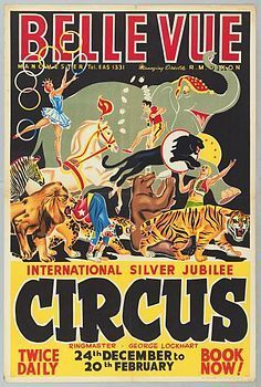 Simplistic illustrations with a bright colour palette. Vintage circus posters are fun and display a whole range of entertainment. It is a image including every aspect of what they intend on the show to be.
