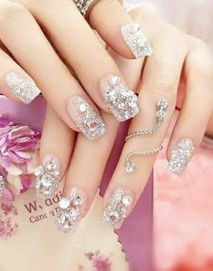 Dongcrystal Bling Nail Art Jewelry Glitter Rhinestone Decor Nail Tips Fake Nails Wedding Nails For Bride, Bride Nails, Wedding Nails Design, Bling Wedding, Elegant Wedding, Diy Wedding, Pink Stiletto Nails, Glittery Nails, French Nails
