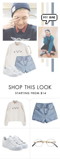 """""""Kim Namjoon"""" by lazy-alien ❤ liked on Polyvore featuring adidas Originals, Oliver Peoples, bts, rapmonster and kimnamjoon"""