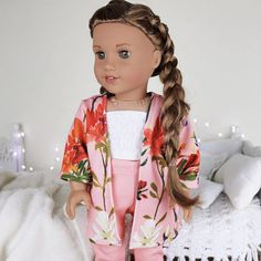 doll accessories 18 inch doll coral floral print and shirt sold not included. Ropa American Girl, Custom American Girl Dolls, American Girl Doll Pictures, American Girl Crafts, American Doll Clothes, Girl Doll Clothes, American Dolls, Barbie Clothes, Peinados American Girl