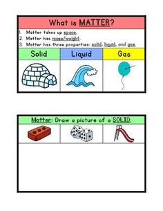 Use this product in interactive journals to introduce the concept of matter to primary students. Included: definition of matter, a page for solids, a page for liquids, and page for gases. Students can demonstrate their understanding by drawing one or more examples of each property. Pages are in color and also in black and white.