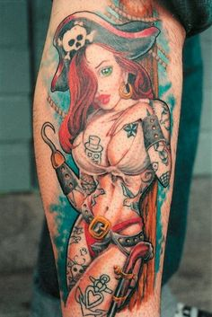 Pirate Pin Up Girl Tattoo. That's an awesome and sexy design.