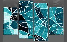 wall canvas circles | Circles Upon Circles Teal Abstract 4-Panel Canvas Wall Art 40 inch ...