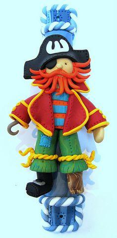 Polymer clay pirate mezuzah by Suzy Taylor