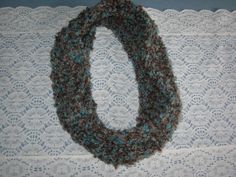 Infinity Scarf Hand Knit Brown and Turquoise by susanstreasures, $22.00