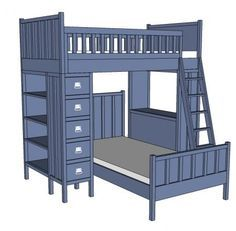 I want to make this!  DIY Furniture Plan from Ana-White.com  The top bunk for the Cabin Bunk System.  Features full guardrails and slatted mattress support.  Works with the rest of the Cabin Collection to create a complete storage and sleeping center.