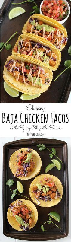 Skinny Baja Chicken Tacos •