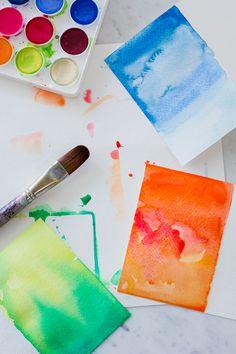 diy watercolor greeting card, easy diy craft, wandeleur, diy stationery