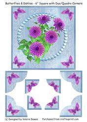 "Butterflies & Dahlias - 6"" Square Duo/quadro Corner Card"