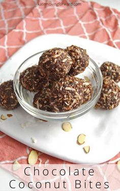 Chocolate Coconut Bites - a great healthy snack similar to a larabar, but tastes like an almond joy bar! So good! Gluten-free, dairy-free, and sugar-free. #proteinbites #proteinballs #healthysnacks #katemovingforward