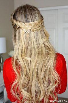 18c23081af94 How to: French Braid Crown with Luxy Hair #braidshairstyles Fransk Stil,  Bröllopsfrisyrer,