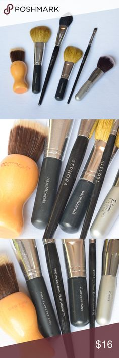 Highend Makeup Brush Bundle Includes SIX makeup brushes, from Sephora, ecotools, IT cosmetics, and bareMinerals. One kabuki sheer finish brush from ecotools, a powder brush from IT cosmetics, an eyeliner brush from Sephore, a blush brush from Sephora, and 2 powder brushes from bareMinerals. The brushes are obviously used, but they have been washed and cleaned and are still in great condition. Comment if you have any questions! I'M ACCEPTING ALL REASONABLE OFFERS!! Sephora Makeup Brushes…