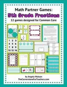 Grade Fractions Games: math partner games for Common Core. Includes: fractions on a number line; adding and subtracting fractions with unlike denominators; Teaching 5th Grade, 5th Grade Teachers, Fifth Grade Math, Teaching Math, Fourth Grade, Teaching Ideas, Multiplying Fractions, Simplifying Fractions, Equivalent Fractions
