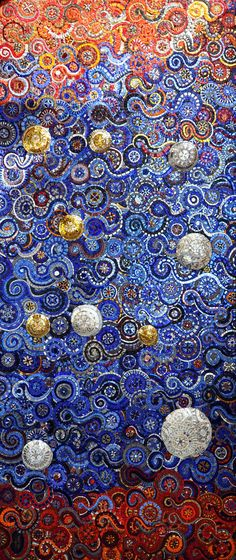 Starry Night - mosaic tile piece by Anna Fietta
